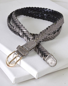 Washed Metallic Braided Narrow belt