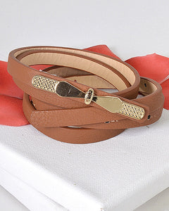 Gold Thin Bow Skinny Fashion Belt