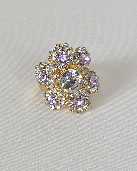 Floral Design Crystal Studded Adjustable Ring