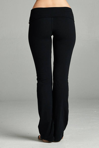 Ladies fashion plus size full length leggings with flare bottom detail and fold over waist