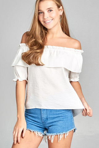 Ladies fashion short sleeve w/elastic off the shoulder flounce w/ruffle woven top