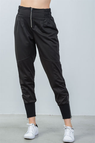 Ladies fashion ankle lenght black zipper high waisted jogger pants