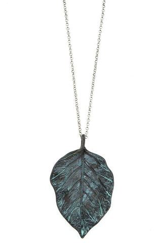 Leaf pendant long necklace set