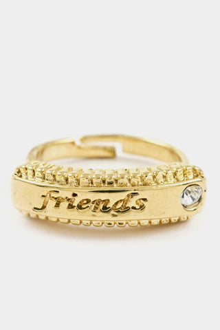 Friends bar with textured crystal accent adjustable ring