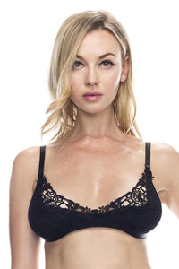 Embroidered lace overlayed shelf bralette