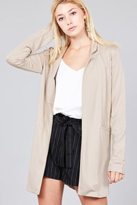 Long Sleeve Notched Collar W/pocket Tunic Jacket