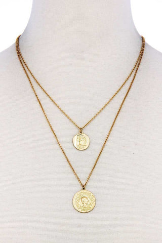 Chic Trendy Gold Coin Pendant Double Layer Necklace
