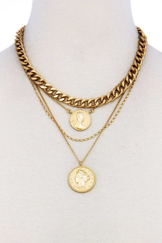 Fashion Chic Gold Coin Pendant Necklace