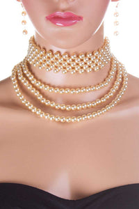 Multi Pearl Choker Necklace