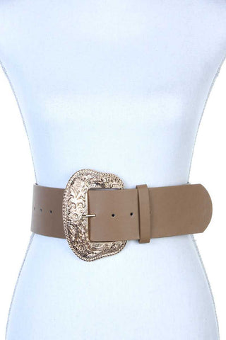 Filigree wide metal buckle pu leather belt