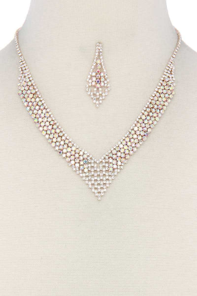 V Shape Rhinestone Necklace