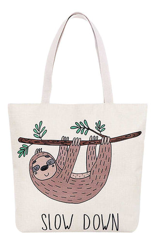 Slow Down Sloth Print Canvas Tote Bag