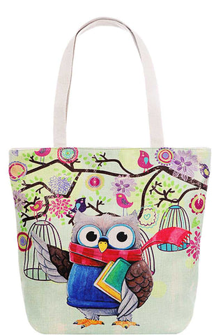 Cute Owl Print Canvas Tote Bag