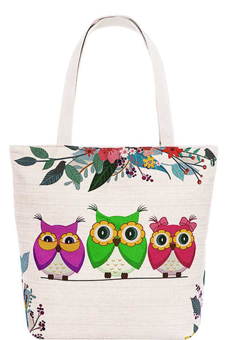 Cute 3 Owl Family Print Canvas Tote Bag
