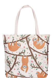 Cute Sloth Family Print Canvas Tote Bag-