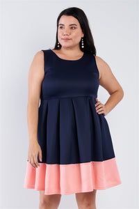 Plus Size Navy Pleated Colorblock Mini Dress