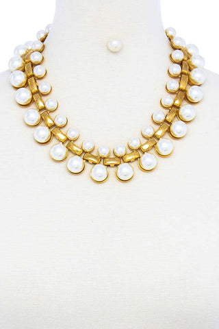 Fashion Multi Pearl Chunky Necklace And Earring
