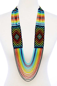 Fashion Multi Bead Ancient Pattern Long Necklace