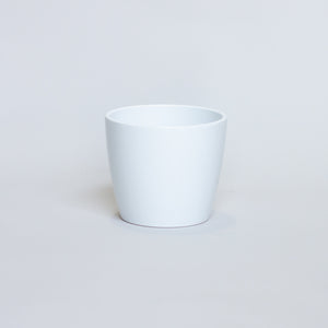 WHITE CERAMIC PLANTER (TAPERED)
