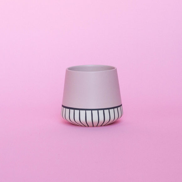 PINK WITH WHITE STRIPES CERAMIC PLANTER