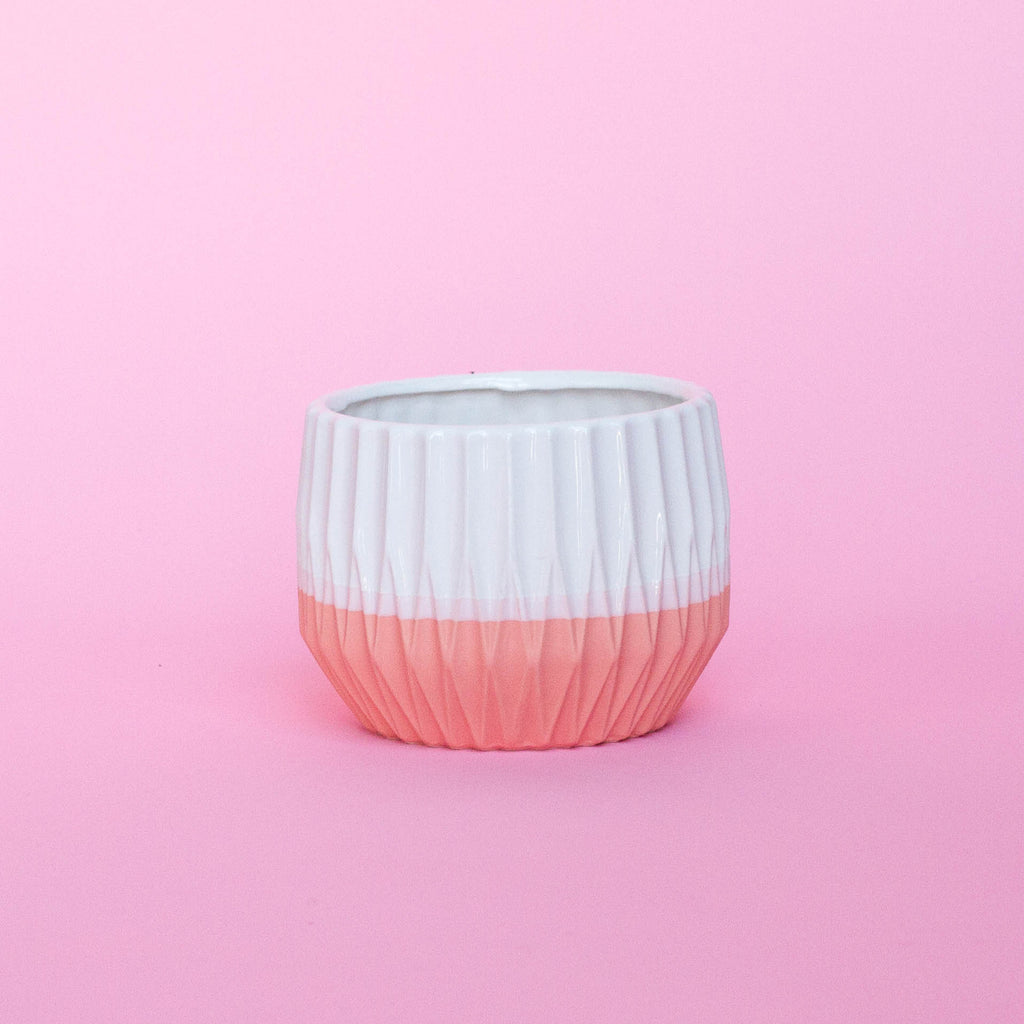 WHITE WITH PINK BOTTOM CERAMIC PLANTER