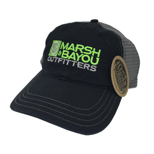 Marsh & Bayou Outfitters Hooks Logo Hat | Black and Bright Green