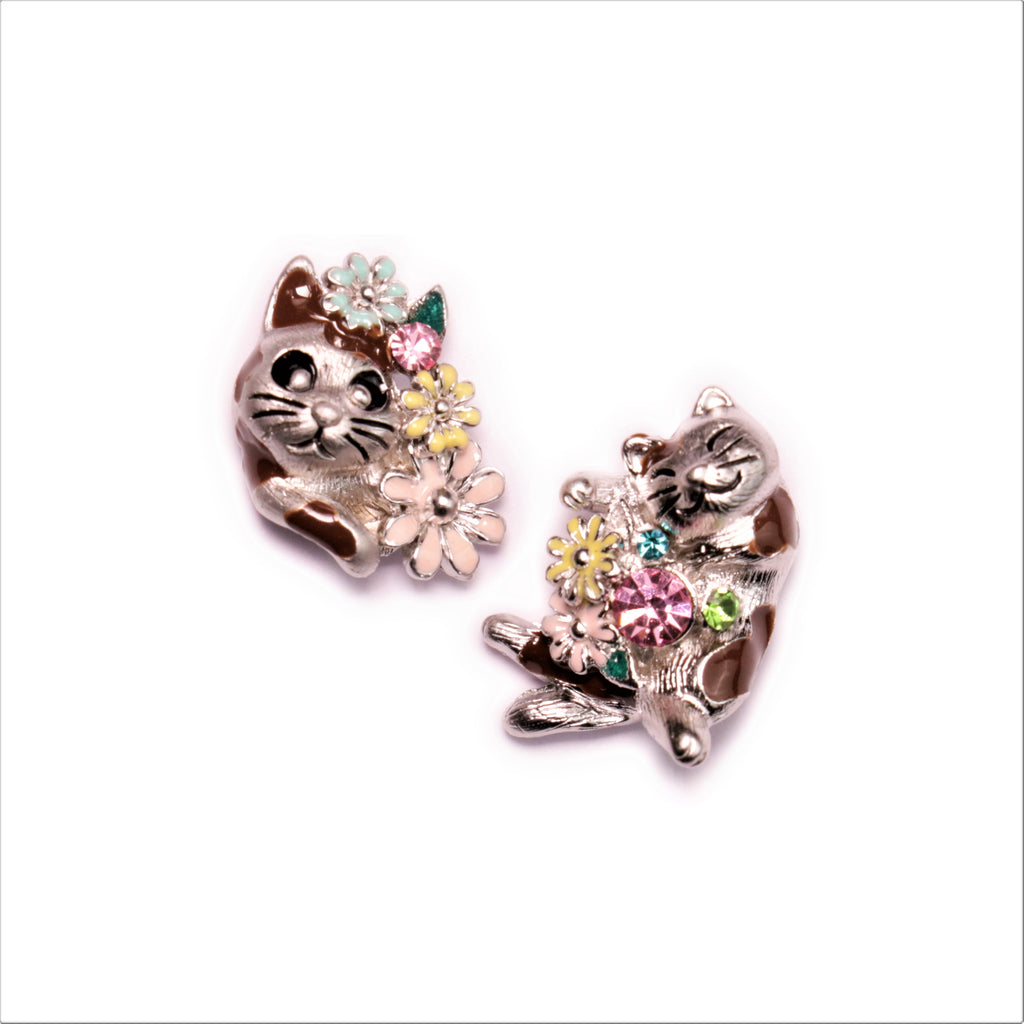 Baddy Cat Silver Earrings