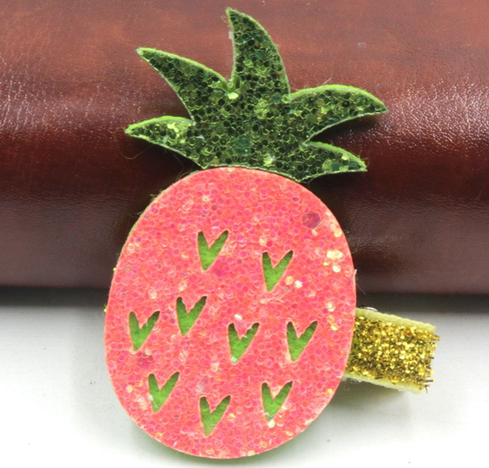 Sparkly Pineapple hair clip (Handmade)