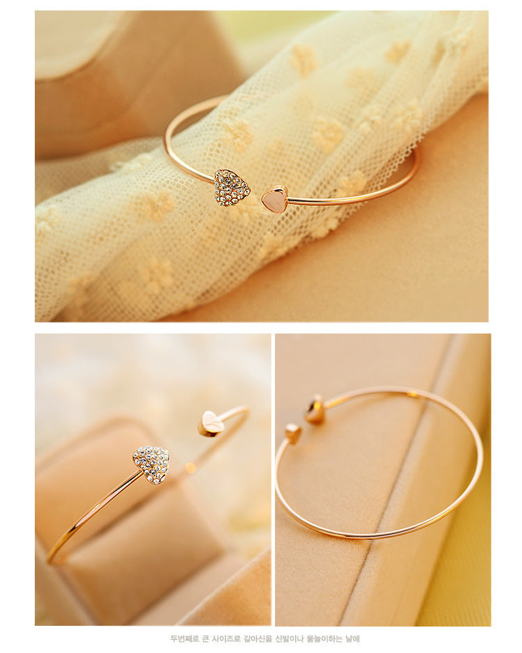 Cute adjustable crystal heart bangle