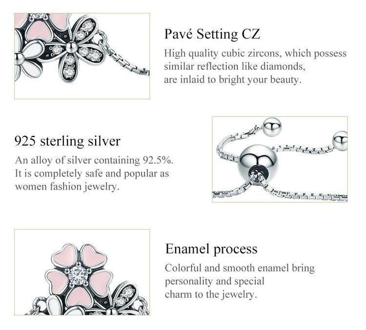 925 Sterling Silver Cherry Flower Bracelet