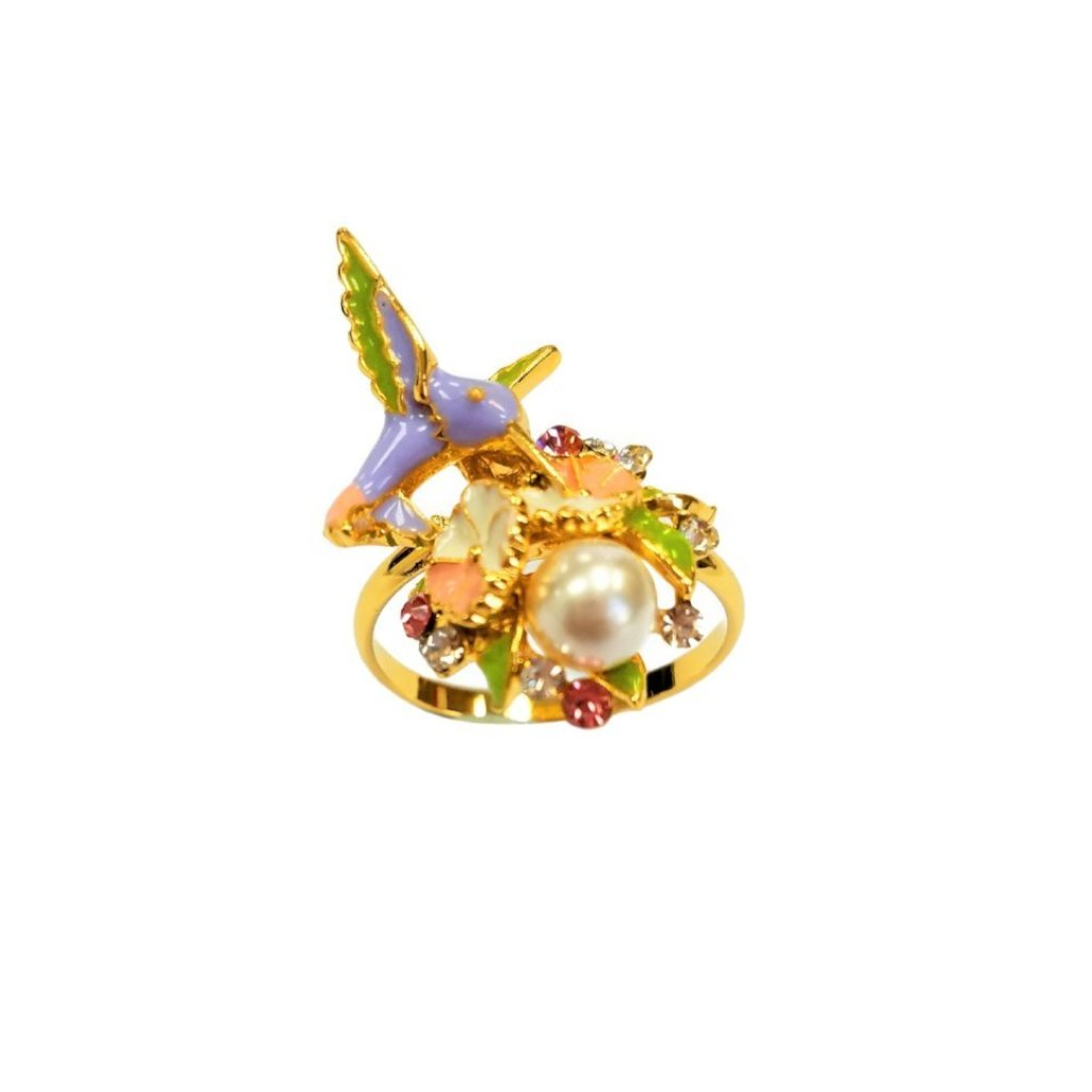 Bee Harmony Pearl Bird Ring Blue