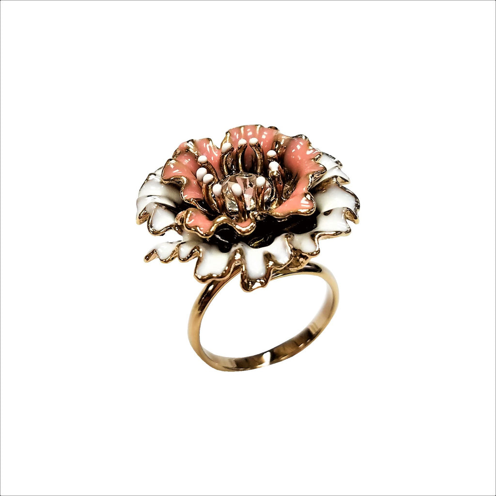 Nari Double Paper Flower Ring Satin Gold / white