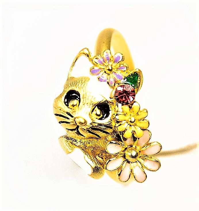 Gold Baddy Cat Ring