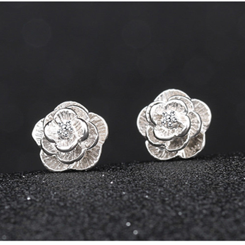 Cute gold plated rose flower studs