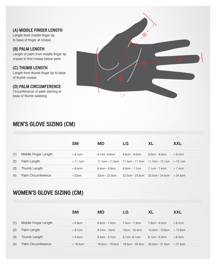 specialized glove size chart