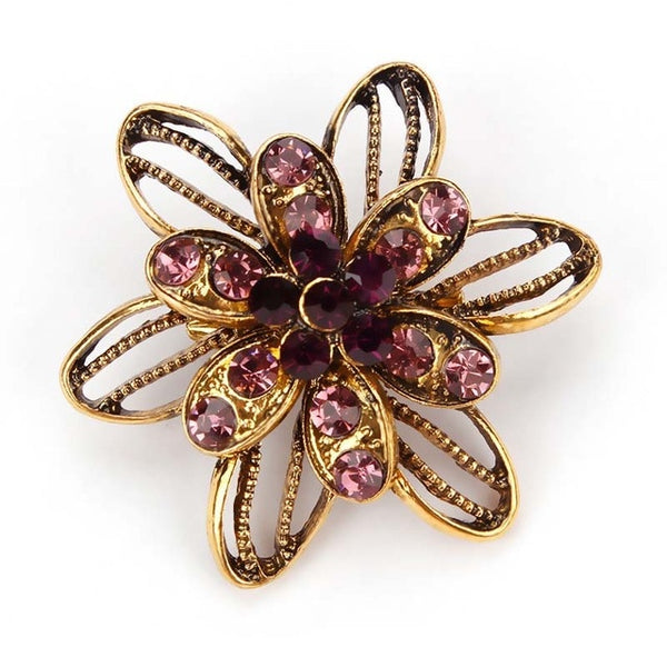 Vintage Gold Color Plated Crystal/Rhinestones/Flower Antique Brooch Pins