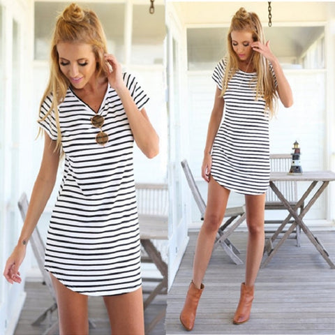 Short Sleeve Striped Loose Mini Dress