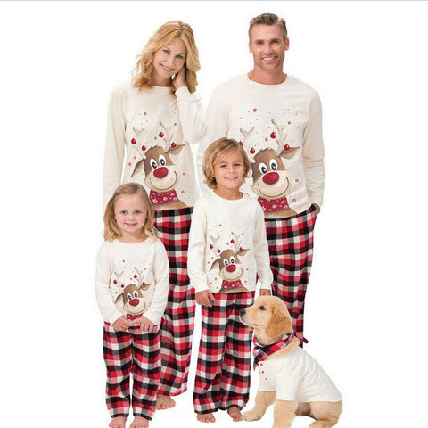 XMAS Christmas 2PCS Family Matching Adult Women Kids Pajamas Nightwear Deer Print Pajamas Pj's Set Outfits Sets
