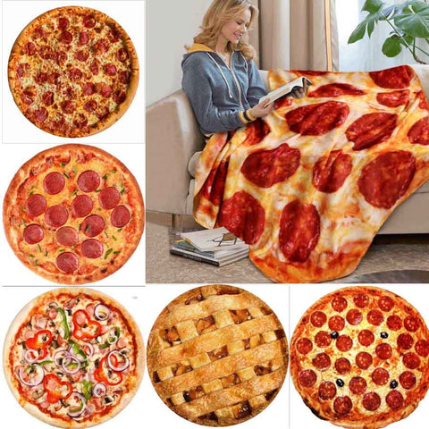 Food decorated Round Blankets - Pizza, Doughnuts, Hamburger, Pie and Cookie