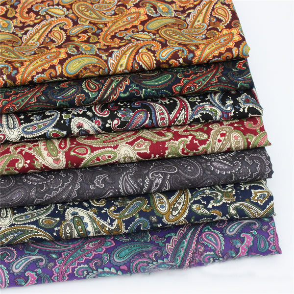 Vintage paisley material sewing patchwork brown red black purple paisley fabric retro