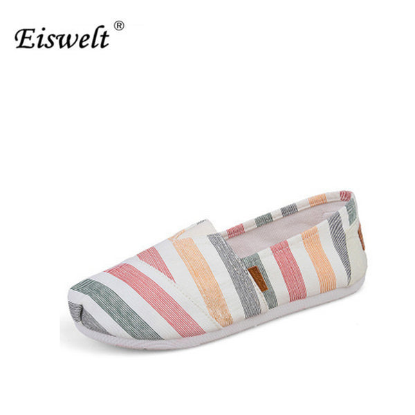 EISWELT 2017 Comfort Women Flats New Arrival Spring Slip-on Striped Canvas Shoes Women High Quality Women Loafers Shoes#ELQ8
