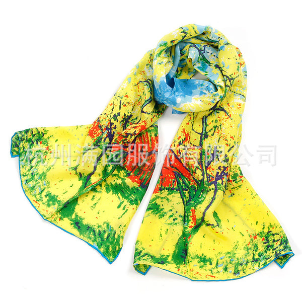 Van Gogh Oil Painting Real Silk Scarf