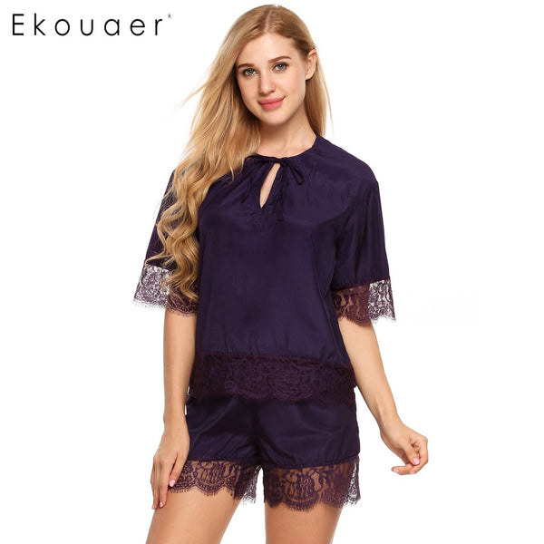 Ekouaer Lace Patchwork Pajamas Summer Hollow Out Sleepwear Womens Short Sleeve Nightwear Embroidered Tulle Tie-Neck Pajamas Set