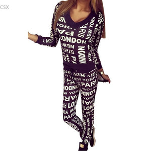 Women Fashion Two Pieces V Neck Long Sleeve Irregular Hem Pullover Top and Elastic Waist Letter Print Long Pants Loungewear Set