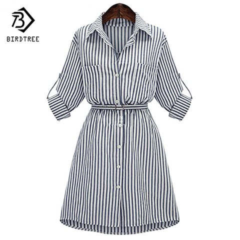 Vintage Plus Size Long Sleeve Striped Shirt Dress