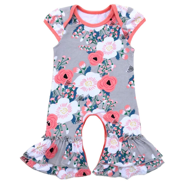 Sister Twins Wholesale baby rompers kids clothes cotton boutique cap sleeve ruffle floral infant romper