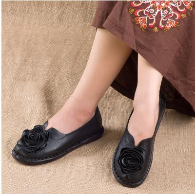 Genuine Leather Flowers Flats