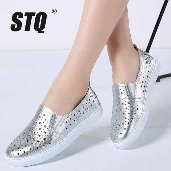 STQ 2018 Summer women flats sneakers ballet flats oxfords shoes slip on loafers casual shoes women white silver boat shoes 6688