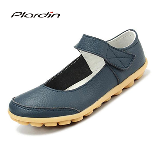 plardin 2018 plus size Genuine Leather Shoes Flat Shallow Ankle Strap Women Shoes Ballet Flats Women Four Seasons Ballerina Flat