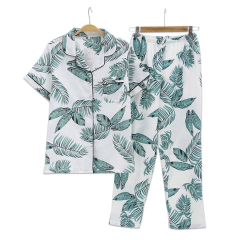 Fresh leaf pyjamas women 100% gauze cotton